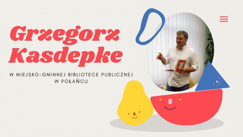 Zdjęcie kolorowe, fragment prezentacji Grzegorz Kasdepke w Bibliotece w Połańcu